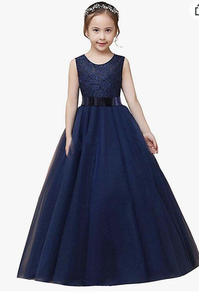 Now Dream flower girls long dress, blue, size 10