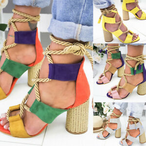 USA-Women-Ladies-Block-High-Heels-Ankle-Strapped-Sandals-Lace-Up-Shoes-Size-5-11