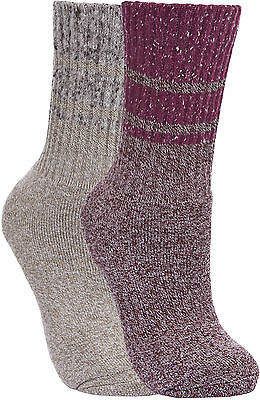 2 pack Trespass Ladies ANTI BLISTER Double Layer SOCKS Hiking Walking Grape