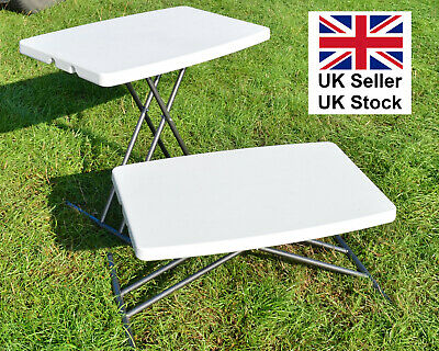 Small Folding 3 Height Adjustable Camping Table Moulded Folds Flat - How To Make A Small Folding Table