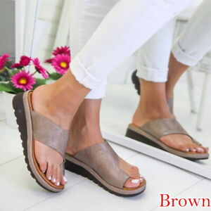 dd06485e6a Details about Women Leather Shoes Comfy Flat shoes Sandals Casual Soft Big  Toe Foot Correction