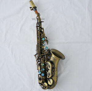 professional antique bronze new curved soprano saxophone sax high f with case ebay. Black Bedroom Furniture Sets. Home Design Ideas