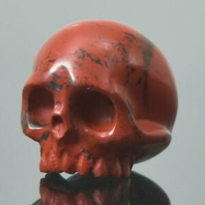 Red-Jasper-Human-Skull-Bead-Guru-Natural-Indonesia-14-60-mm-Carving-3-85g
