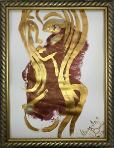 ORIGINAL-Malerei-PAINTING-abstract-abstrakt-erotic-EROTIK-FRAU-gold-akt-nu-nude