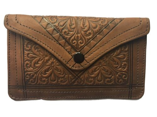 Handmade Embossed Leather clutch purse