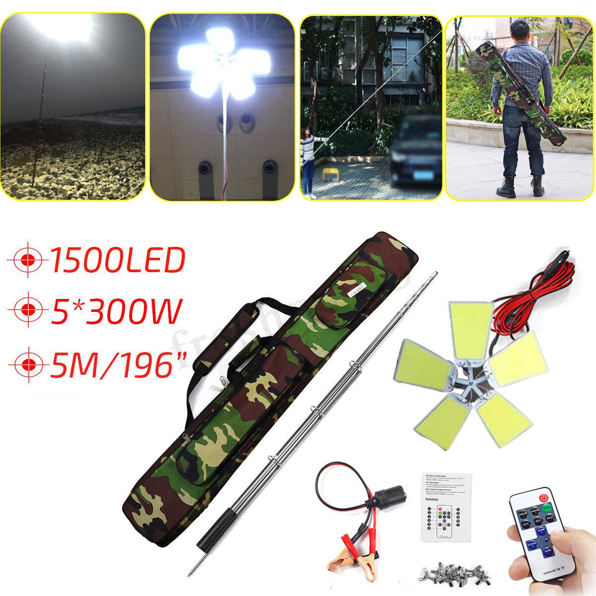 1500W 1500 LED Telescopic Fishing Rod Car Repair Lantern Camping Light Lamp +Bag