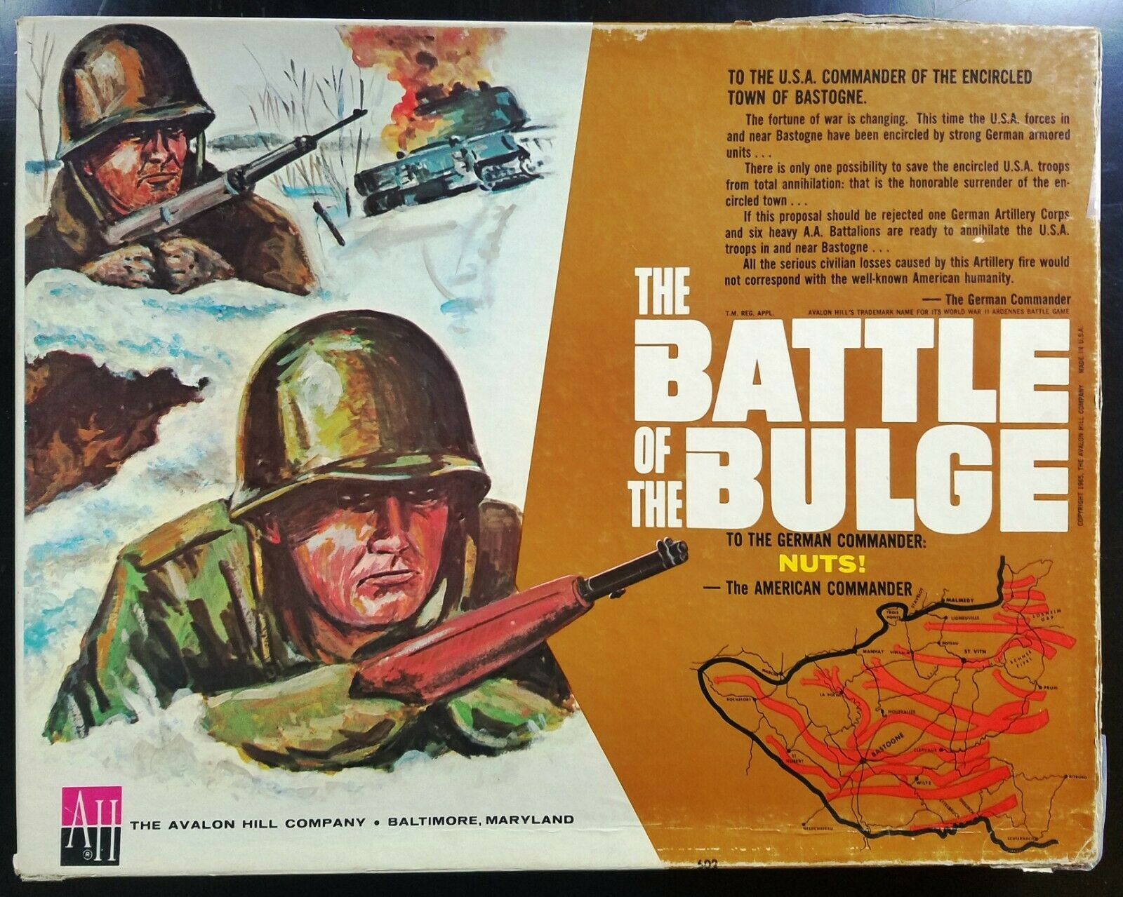 Avalon Hill slåss of the Bulge (1965) med två variant spel -- One of the Kind