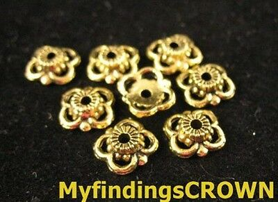 150 pcs Antiqued gold floral bead caps 9mm FC1035