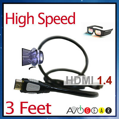 3 Feet HDMI 1.4 CABLE 24K For PS3 Apple TV WD TV Live with 3D, ARC, Ethernet