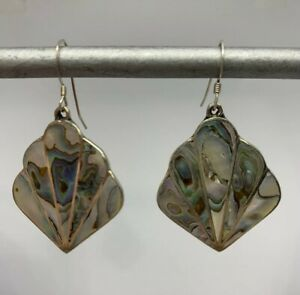 Vintage Sterling Silver Abalone Shell Drop Earrings