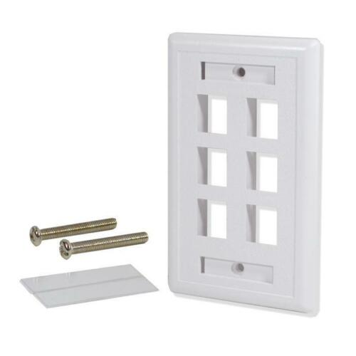 5 Pack Lot 6 Port Hole Keystone Jack Wall Plate With Window ID White