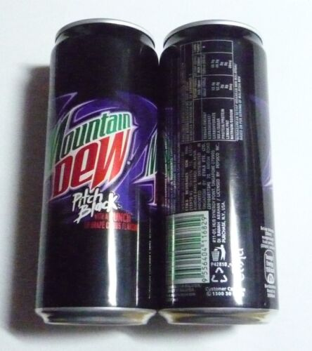 EMPTY Pepsi MOUNTAIN DEW Pitch Black GRAPE Cola Tall 330ml can MALAYSIA 2016