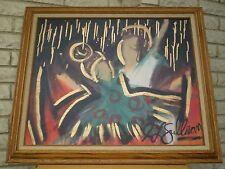 Unique Abstract Painting by J L Sullivan ~ Signed Original Oil /Canvas ~ Vintage