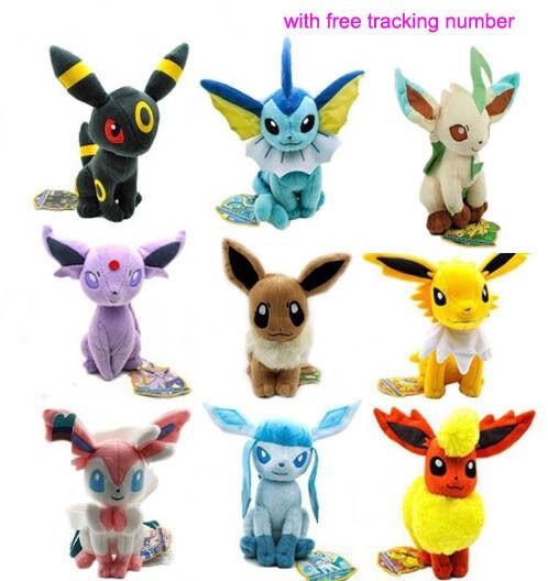 9PCS Ny Pokemon Evolution of Eevee Plush Docka leksak Eevelution Set of 9pcs varm