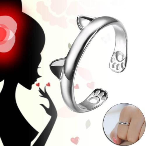1x NEW Lovely KITTY CAT EARS RING Silver Tone Cute Animal Quirky Indie GIBT  BT