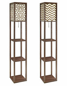 Image Is Loading Cappuccino Floral Chevron Pattern Floor Lamp 3 Tiered