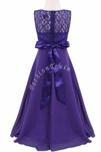 Bridesmaid Flower Girl Long Wedding Dress Birthday Party Prom Communion Gown