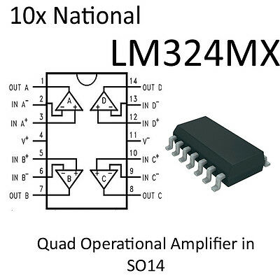 5 Stk x LM324N Op Amp SMD SO14 #A3103