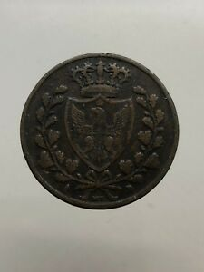 2-Kingdom-of-Sardinia-Carlo-Felice-5-Cents-1826-Torino-L-in-Lozenge