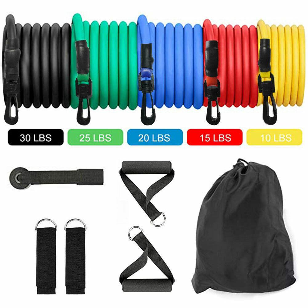 11 PCS Resistance Band Set Yoga Pilates Abs Exercise Fitness Tube Workout Bands 2