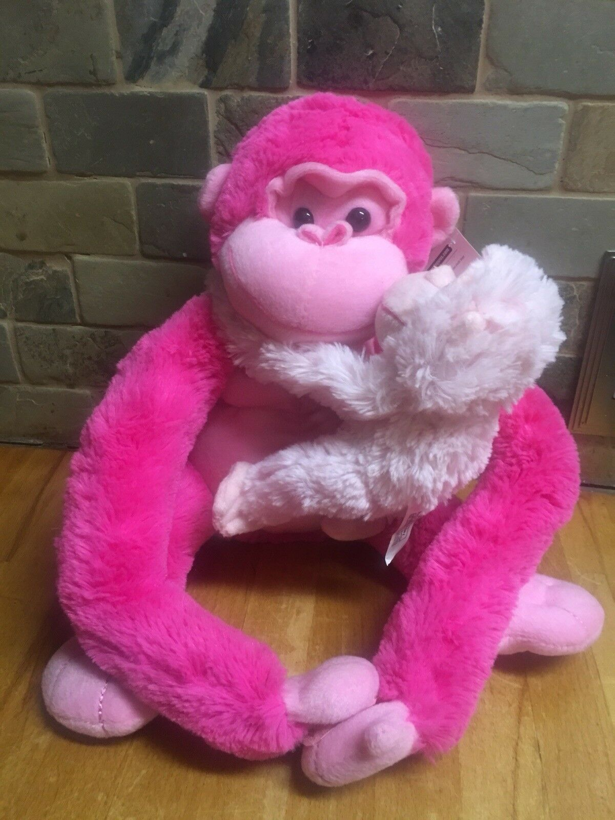 Animal Alley PINK Plush MONKEY APE 17  And Baby Stuffed Soft Toy Animal NWT