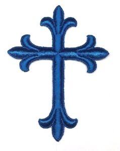 Vintage-Liturgico-Cruz-Bordado-para-Coser-Azul-F-7-6cmx-10-2cm-Emblema-UTP-2-PC