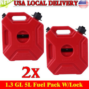 2X 1.3GL,5L Fuel Pack W/Lock Gas Jerry Can Fuel Container Off Road,ATV,UTV,J<wbr/>eep#