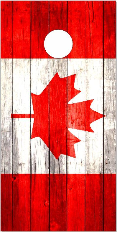 Canadian Flag Weathered Wood LAMINATED Cornhole Wrap Bag Toss Skin Decal