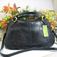 Oryany Daria Large Black Pebbled Leather Satchel Handbag W/w Shoulder Strap $325