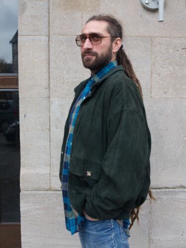 Olivegrün Herrenjacke Hobson True Vintage 90er Jacke Men Leder Velour Jacket 54 zxwxBqAF