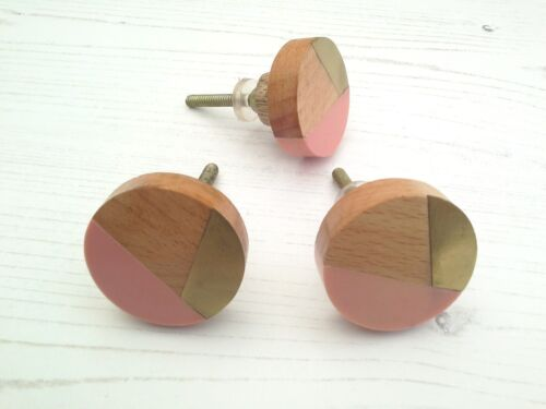 Drawer Knob Wood Brass Metal Pink Mixed Media Shabby 1Post Charge Multiple Buy