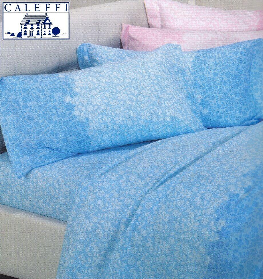 Set Bett, Blätter in Heiß Flanell. Caleffi, Flores. Einzel, 1 Quadrat