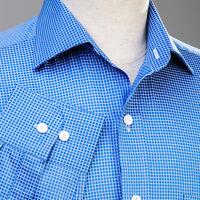 Mens Blue Formal Dress Business Shirt Button Cuff Plaids & Checks Luxury Fashion