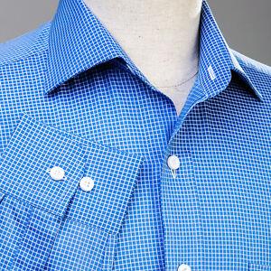 Mens-Blue-Formal-Dress-Business-Shirt-Button-Cuff-Plaids-amp-Checks-Luxury-Fashion