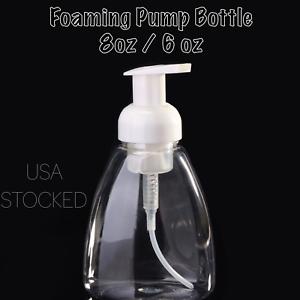 Foaming Dispenser with White Cap 8oz or 6oz Clear Foaming Pump Bottle