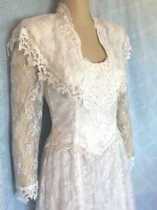 White Lace Handkerchief Hem Wedding Dress Size 6 718979361298 Ebay