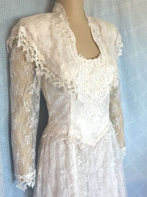 White Lace Handkerchief Hem Wedding Dress Size 6 | eBay