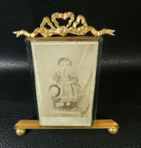 Antique-French-Ormolu-Brass-Bow-Top-Photo-Picture-Frame-Standing-Photo-Frame