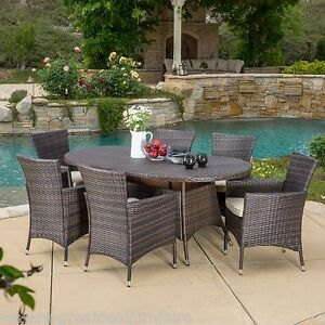Outdoor Patio Furniture 7pcs Brown Wicker Dining Set W