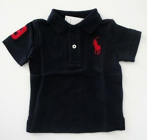 NWT-Ralph-Lauren-Infant-Short-Sleeve-Big-Pony-Navy-Mesh-Polo-Shirt-Sz-9m-NEW