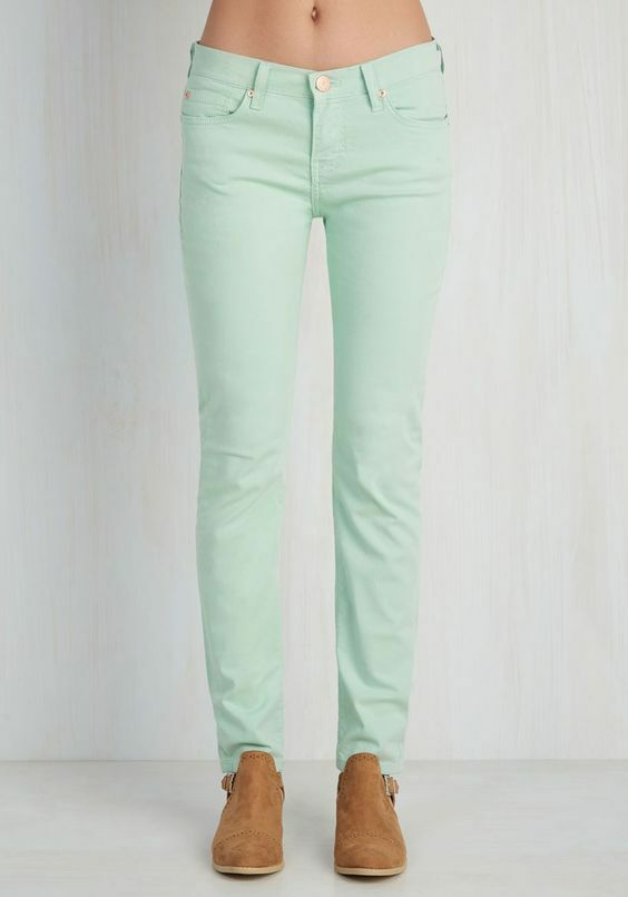 NEW Angry Rabbit Anthropologie  Front Row Fashionista Jeans  in Mint MADE IN USA