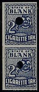 """Cigarette Tax Stamp Test / Dummy """"State of Blank"""" Coil Pair Mint NH"""