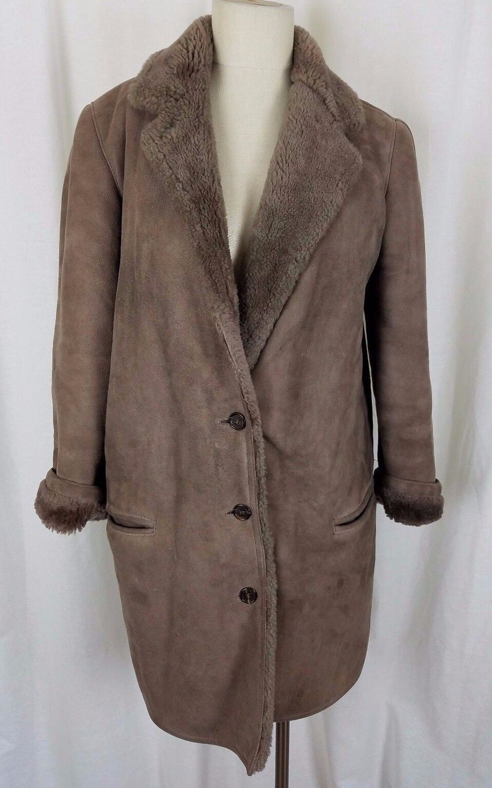 Perry Ellis Sawyer of Napa Leather Wool Shearling Rancher Coat Womens 10 Brown
