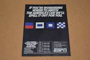 1986 Vintage Print Ad Espn Total Sports Network America S Cup Sailing Coverage Ebay