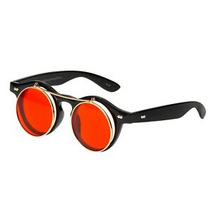 aea12722c2 Image is loading Black-Red-Flip-up-Circle-Steampunk-Glasses-Goggles-