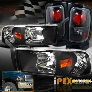 2001 dodge ram 1500 2500 3500 headlights w signals tail lights black. Black Bedroom Furniture Sets. Home Design Ideas