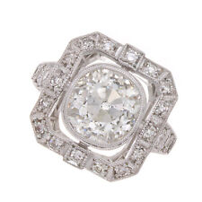 3.40ct Old Mine Cut Certified Diamond Engagement Ring