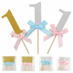 10Pcs-First-Birthday-Cake-Toppers-Boy-Girl-1st-Year-Party-Decor-Glitter-Paper