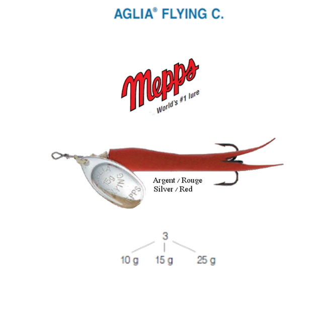 Cuiller MEPPS AGLIA FLYING C  15 g Argent (Silver) / Rouge (Red)