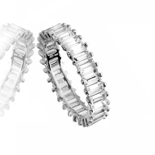 ETERNITY WEDDING BAND W//  EMERALD CUT LAB DIAMONDS// 925 STERLING SILVER// SZ 5-9